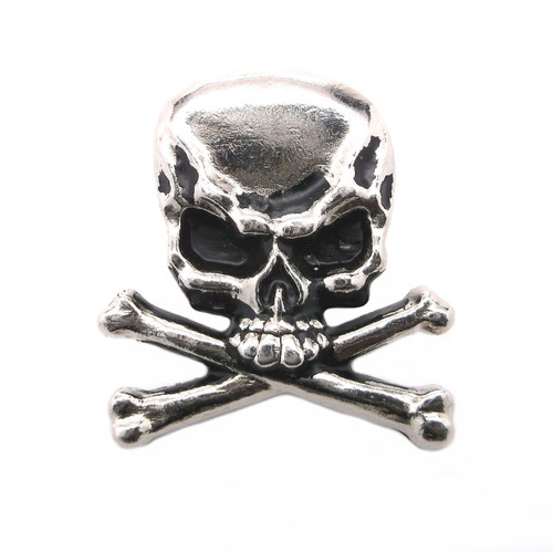 """Skull and Crossbones Nickel Plated 1.25"""" Concho"""