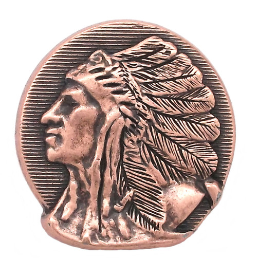 Left Facing Chief Head Concho Antique Copper 1-1/2""