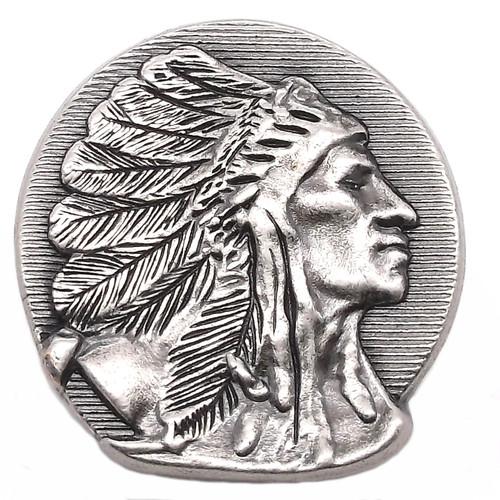 Right Facing Chief Head Concho Antique Nickel 1-1/2