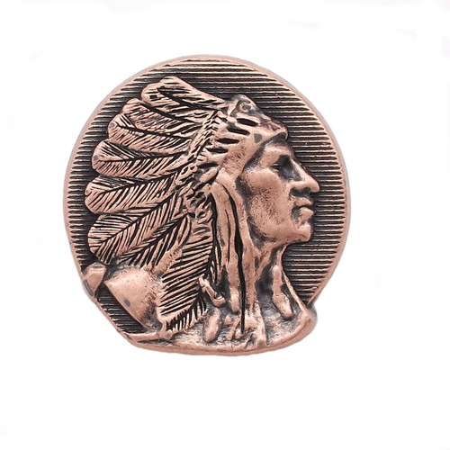 Right Facing Chief Head Concho Antique Copper 1-1/4""