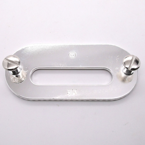 "Silver Rigging Plate 3.25"" x 2"" Slot Leather Strapping and Tie Downs Stecksstore"