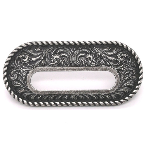 "Antique Nickel Rigging Plate 3-1/4"" x 1-1/2"" Slot Leather Strapping and Tie Downs Stecksstore"