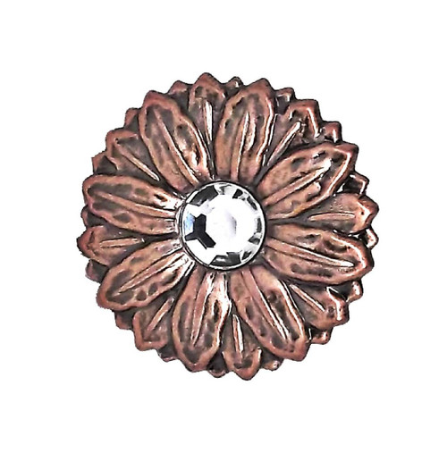 Sunflower Concho Synthetic Crystal Antique Copper