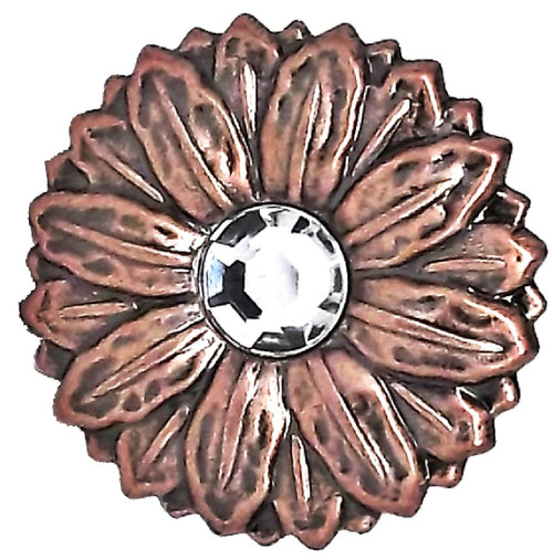 Sunflower Flower Concho Synthetic Crystal Antique Copper