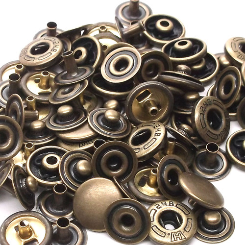10 Pack Antique Brass 10 mm Spring Button Glove Snaps