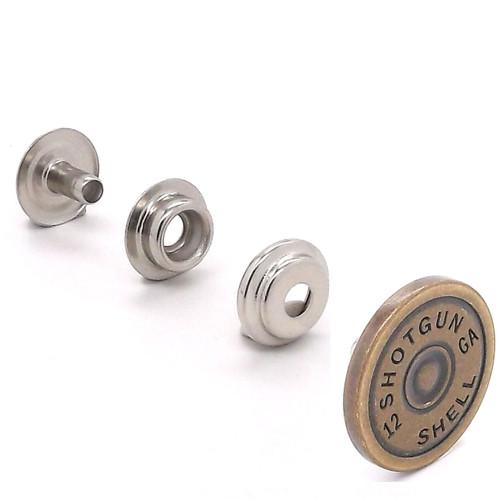 """Shotgun Shell Line 24 Snap Cap Antique Brass 7/8"""" Set"""