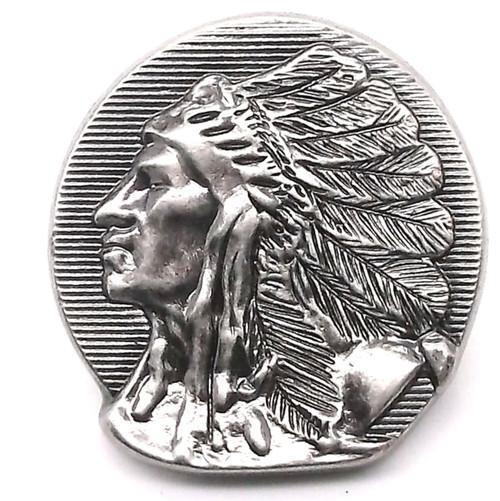 Chief Left Facing Antique Nickel Line 24 Snap Cap