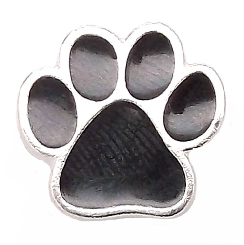 Paw Print Line 24 Snap Cap Silver with Black