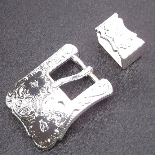"Buckle and Keeper Set Silver for 3/4"" Belts"