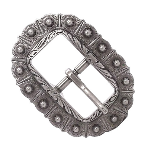 "Bridle Buckle Antique Silver 5/8"" Front"