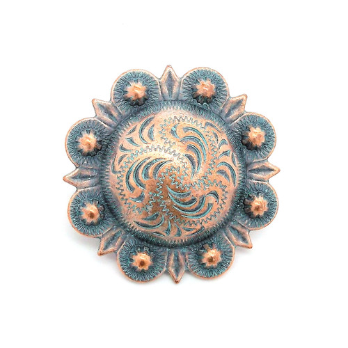 "Berry Concho Antique Copper Patina 3/4"""