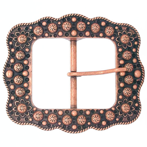 "Buckle 2"" Copper Sunburst Flower"