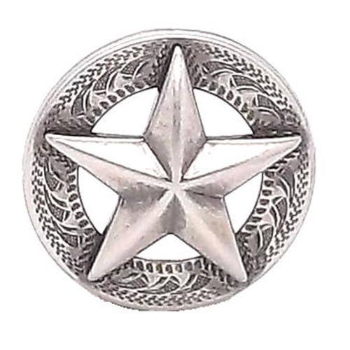 "Texas Star Antique Silver Screwback Concho 1"""