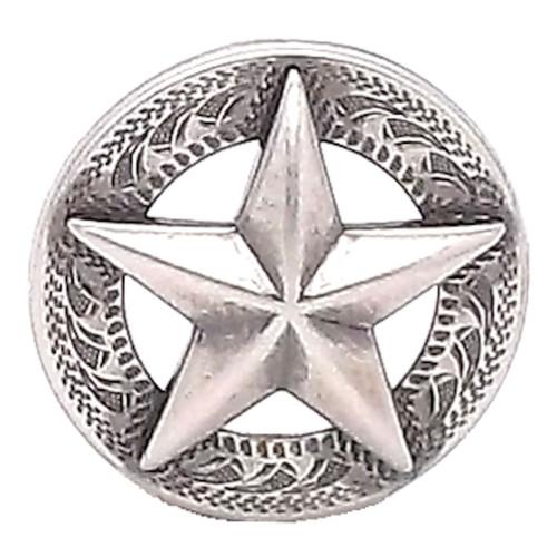 "Texas Star Antique Silver Screwback Concho 1-1/4"""