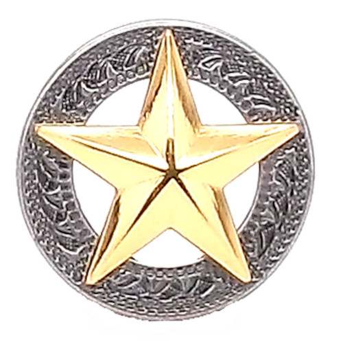 """Texas Star Silver with Gold Star Screwback Concho 1-1/4"""""""