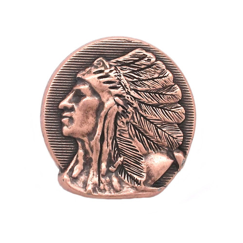 Left Facing Chief Head Concho Antique Copper 1-1/4""