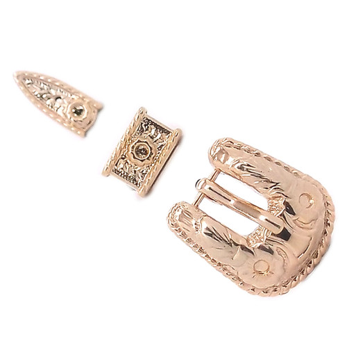 Rope Edge and Gold Tone Hatband Buckle Set