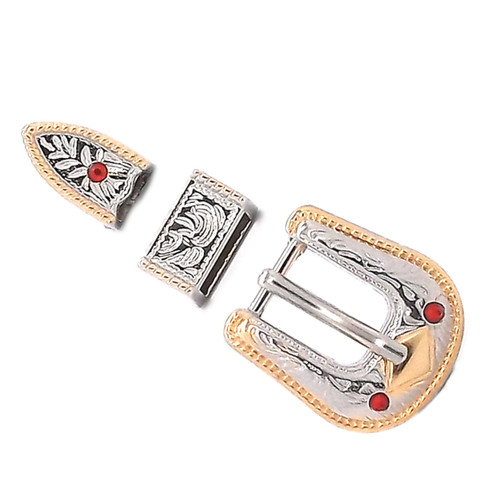Rope Edge Gem Stone Studded Hatband Buckle Set 3/8""