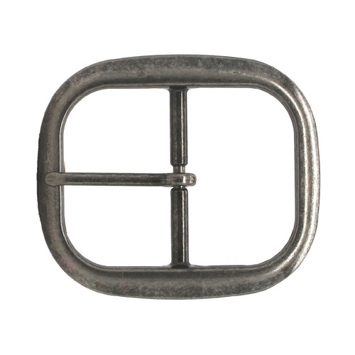 Antique Nickel Center Bar Belt Buckle 1-1/4""