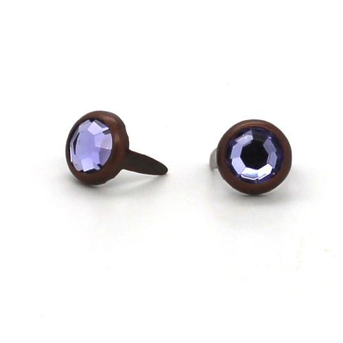 "Purple Rhinestone Copper Plated Brass Spots 10 pk 5/16"" Diameter"