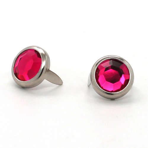 "Dark Pink Rhinestone Nickel Plated Brass Spots 10 pk 1/2"" Diameter"