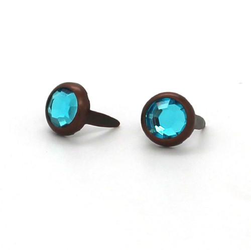 "Light Blue Rhinestone Copper Plated Brass Spots 10 pk 5/16"" Diameter"