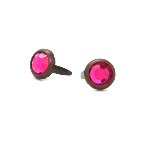 "Dark Pink Rhinestone Copper Plated Brass Spots 10 pk 5/16"" Diameter"