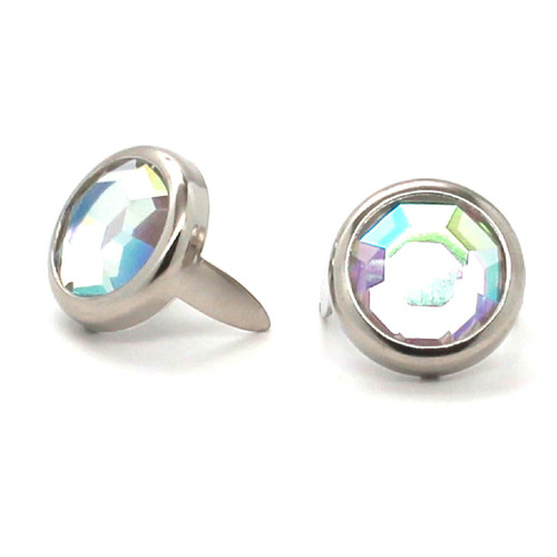 "Abalone Rhinestone Nickel Plated Brass Spots 10 pk 1/2"" Diameter"