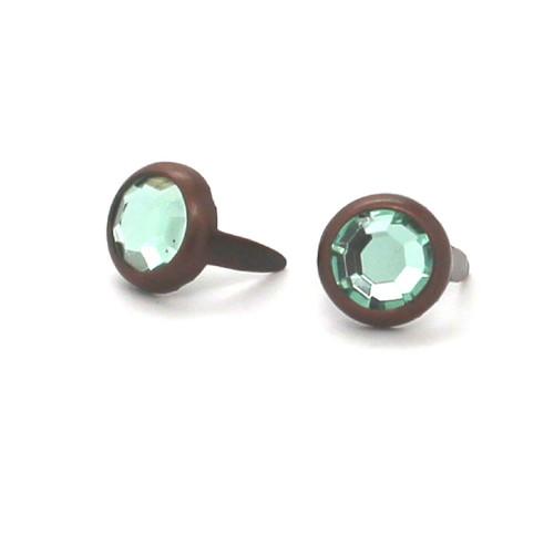 "Light Green Rhinestone Copper Plated Brass Spots 10 pk 5/16"" Diameter"