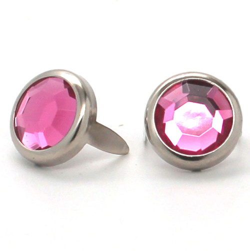 "Light Pink Rhinestone Nickel Plated Brass Spots 10 pk 1/2"" Diameter"