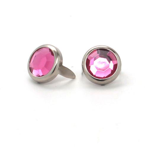 "Light Pink Rhinestone Nickel Plated Brass Spots 10 pk 5/16"" Diameter"