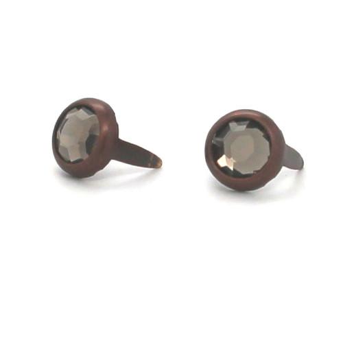 "Smoke Rhinestone Copper Plated Brass Spots 10 pk 5/16"" Diameter"