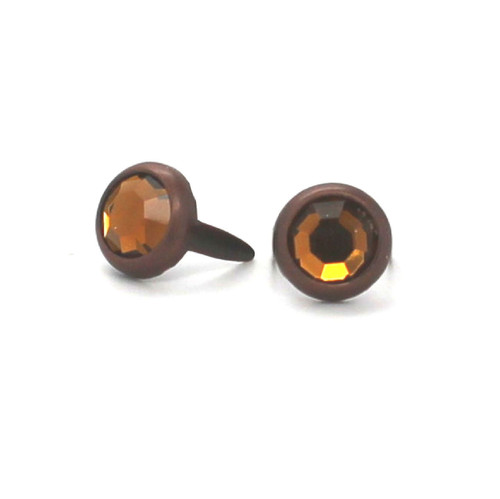 Rootbeer Rhinestone Copper Plated Brass Spots