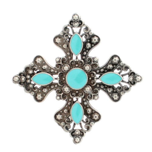 """Turquoise and Antique Silver Flower Concho 1-3/4"""" 7213-02"""