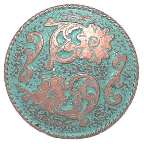 Dual Cactus Flower Antique Patina Concho 1-1/2""