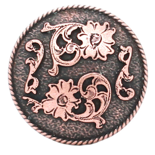 Dual Cactus Flower Antique Copper Concho 1-1/2""