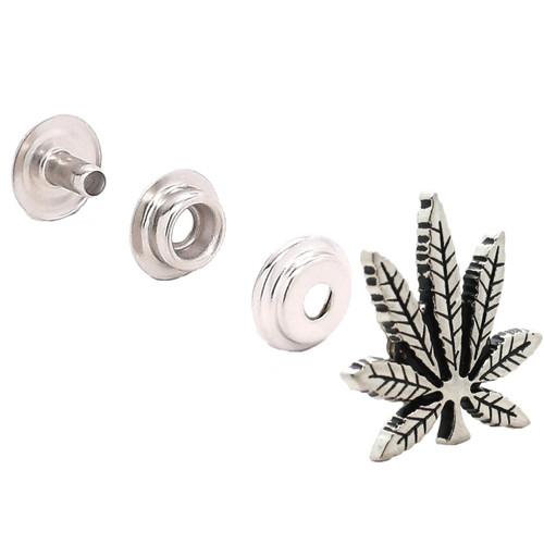 "Hemp Leaf Nickel Decorative Snap Cap  Concho 1""1265-998"