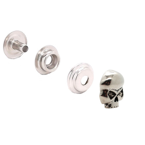 "Skull Nickel Decorative Line 24 Snap Cap 3/4""1265-995"