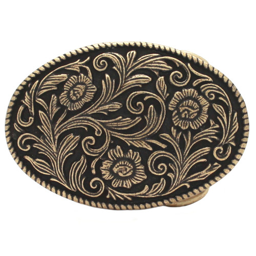 Roped Floral Metal Belt Buckle Antique Brass