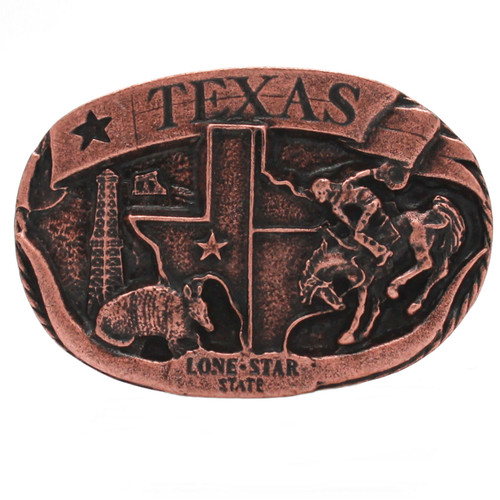 Texas Lone Star Metal Belt Buckle Antique Copper