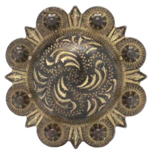 Berry Concho Rustic Gold Screw Back 1-3/4 front