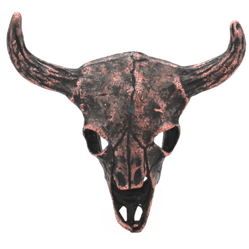 Bull Skull Aged Copper Screw Back Concho 2-1/4""