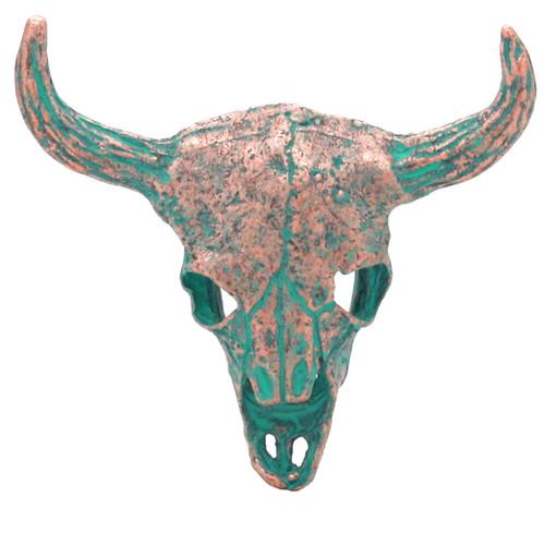 "Bull Skull Antique Copper Patina Screw Back Concho 2-1/4"""