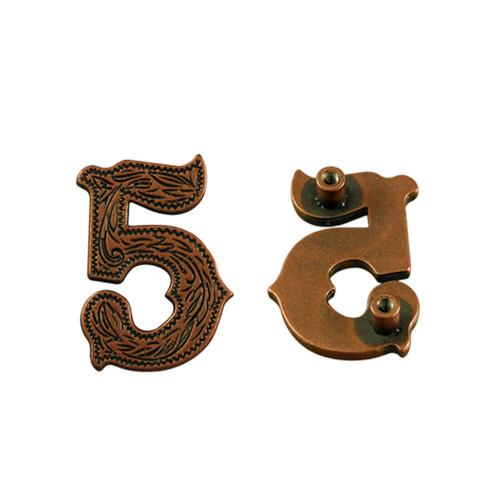 Number 5 Screwback Concho in Antique Copper