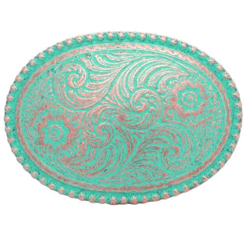 Belt Buckle Sheridan Floral Antique Copper Front