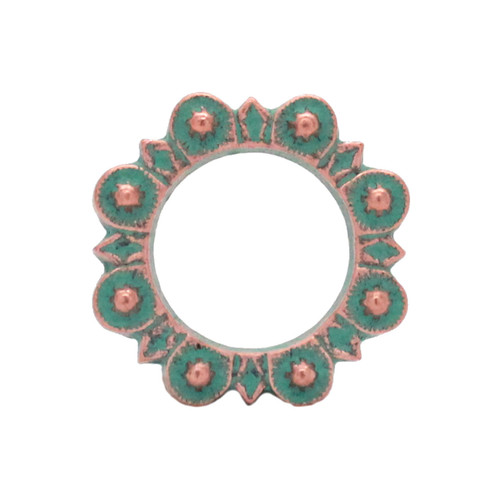 """Flat Ring Copper Patina 1"""" Front"""