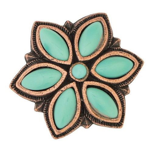 Floral Stone Antique Copper Screw Back Concho