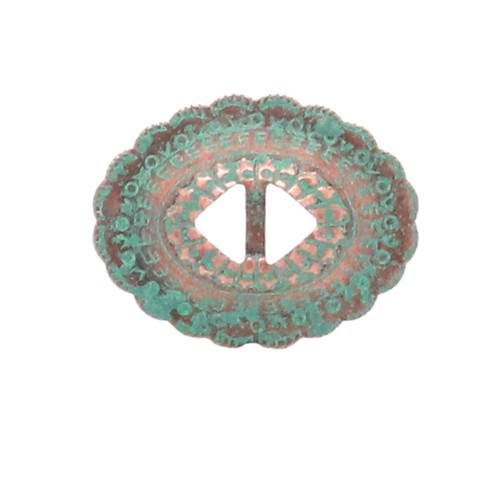 """Slotted Stamped Steel Concho Copper Patina 1-1/4"""" 10 Pack"""