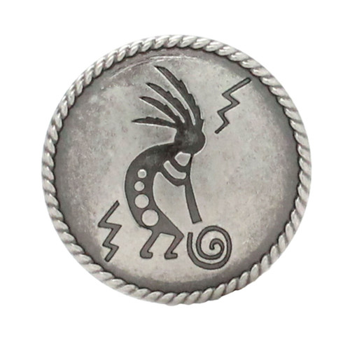 "Kokopelli Concho Antique Nickel 1-1/4"""
