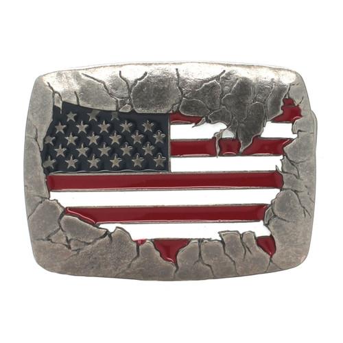 USA Flag Metal Belt Buckle Antique Nickel Front